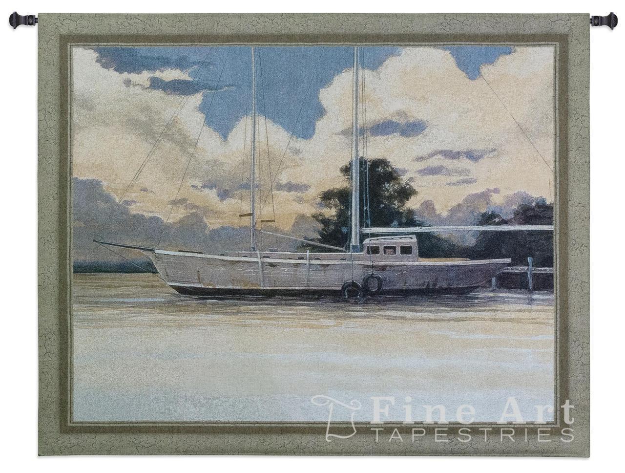 Awaiting Sail Nautical Wall Tapestry Boats Pic Seascape 53 x44