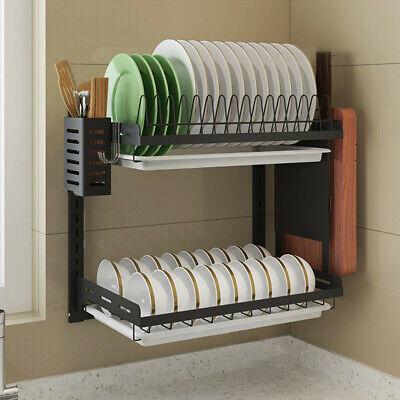 Dish Rack DIY Kitchen Storage Shelf Utensils Holder Wall Mount Shelves Spice !!