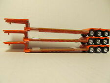 3  DCP 1/64 SCALE ORANGE FONTAINE RENEGADE DETACHABLE  LOWBOY WITH FLIP AXLE