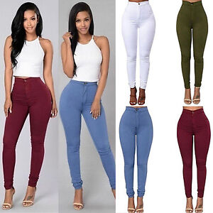 903b12e60d2 Women Ladies Skinny Pencil Pants High Waist Stretch Slim Fit Denim ...