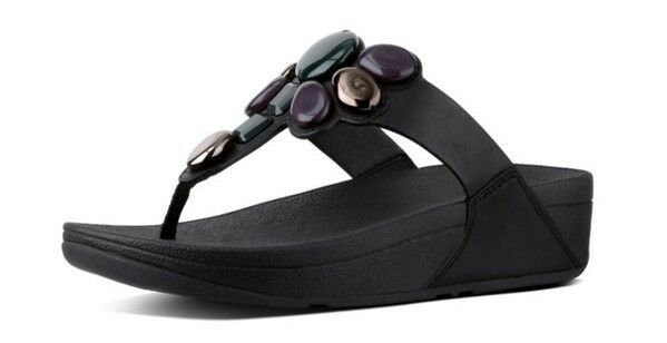 b1e5c0f2044 FitFlop Honeybee Jewelled Black Womens Leather Toe-post Wedge Thong Sandals  UK 8 for sale online