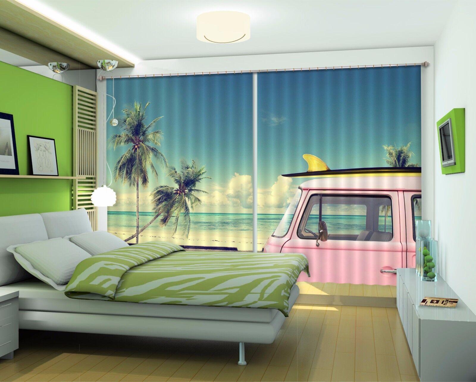 3D Coche De Mar 355 Cortinas de impresión de cortina de foto Blockout Tela Cortinas Ventana CA