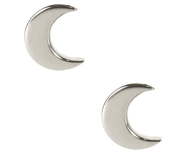 9358ea053 Silver Moon Earrings Tiny Solid Sterling 925 Silver Small Half Cresent Ear  Studs for sale online | eBay