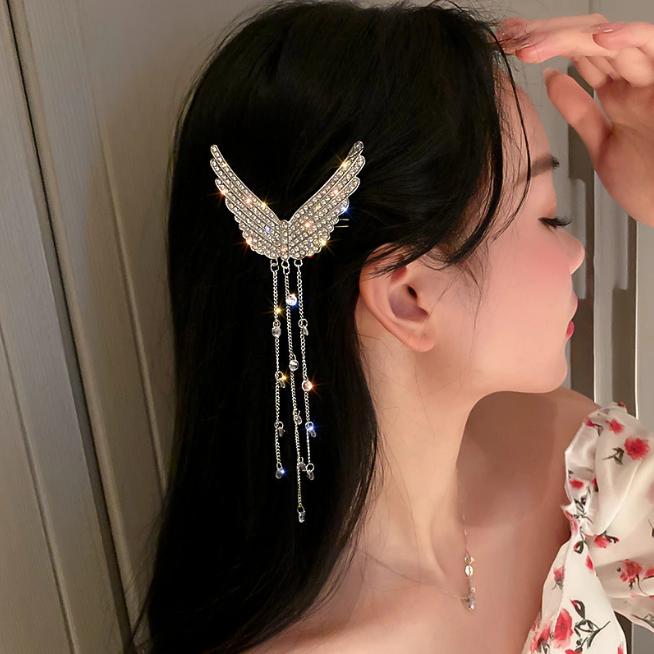 Rhinestone Angel Wings Hair Clip Tasseled Jewelry Wedding Korean Fairy Barrette