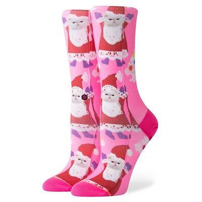 Stance NEW Women/'s Xmas Santipaws Crew Socks Pink BNWT