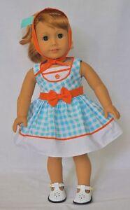 Doll-Clothes-18-034-Doll-Dress-Blue-Orange-Gingham-Fits-AG-Doll-Mary-Ellen-1954