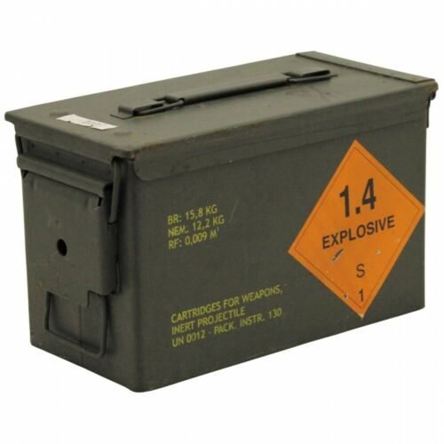 Orig US Munitionskiste AMMO BOX Transportkiste Metall Kiste Blechkiste BW Army