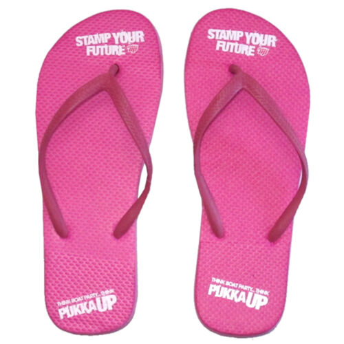 Officiel PUKKA Up Ibiza Femmes Tongs Rose TIMBRE votre avenir Sandale RRP £ 20