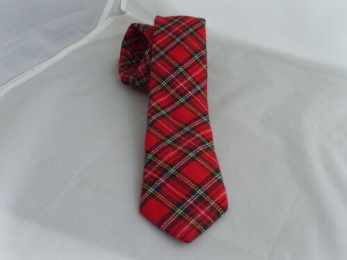 """B TARTAN Royal-Red-Red Mens Skinny Necktie and Hankie Set-Tie-2.5/"""" = 6cm Width"""