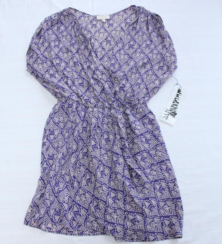 RIELEY LEANNA NYC Womens PURPLE & WHITE TRIBAL PRINT WRAP DRESS NWT L LARGE  149