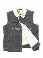 Levis Jeans Mens M Grey Midweight Denim Sherpa Lined Trucker Vest Jacket