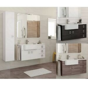 Mobile bagno arredo moderno 100+30 bianco grigio scuro larice Lavabo ...