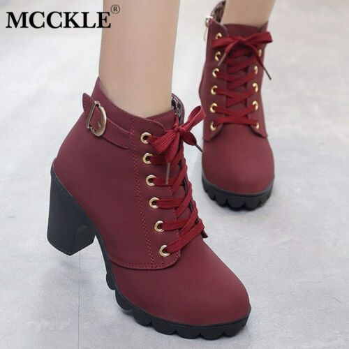 MCCKLE Plus Size Ankle Women Platform High Heels Buckle Shoes Thick Heel