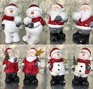 Babbo-Natale-o-Pupazzo-di-Neve-Natale-in-ceramica-ornamenti-Set-di-2-7296-4-Designs