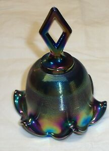 Vintage-Art-Glass-Iridescent-Blue-Carnival-Fluted-Ribbed-Bell-5-039-H