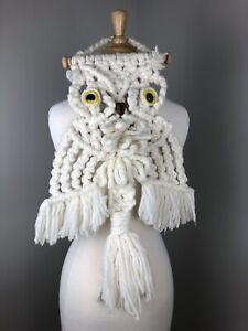 Vintage 70's MACRAME OWL, Mid Century Fiber Art Wall Hanging w/ Ceramic Eyes