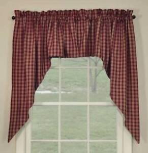 Primitive Country Wine Sturbridge Swag Curtains 72WX36L Plaid Cotton