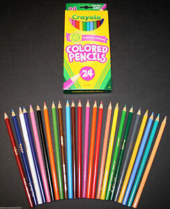 CRAYOLA COLORED PENCILS 24-PACK ASSORTED COLORS CRAFTS SCHOOL ...