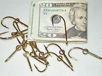 2 Original Eagle Claw Gold Plated Fish Hook Hat Pin / Money Clips