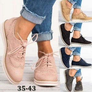UK-Womens-Flat-Oxfords-Shoes-Lace-Up-Pumps-Smart-Work-Office-Shoes-Brouge-Size