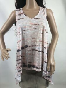 Mossimo Sz S Semi Sheer Hi Lo Hem Sleeveless Tank Top White Peach Gray Womens