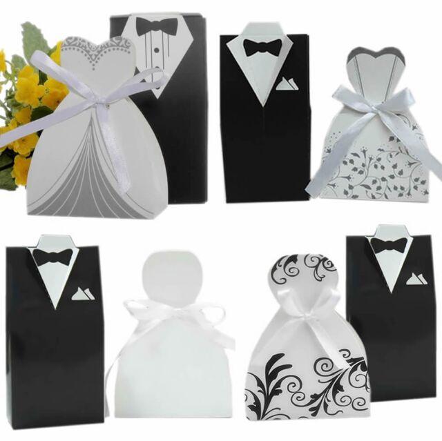 100PCS Wedding Favor DRESS & TUXEDO Bride and Groom Ribbon Candy Box Party New