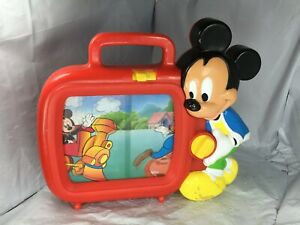 Rare-Vintage-Disney-Arco-Mickey-Mouse-Musical-Wind-Up-Musical-Scrolling-TV-Toy