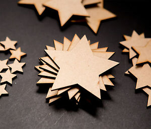 50x Wooden Stars Shapes Laser Cut MDF Blank Embellishments Art Craft Decor 20mm
