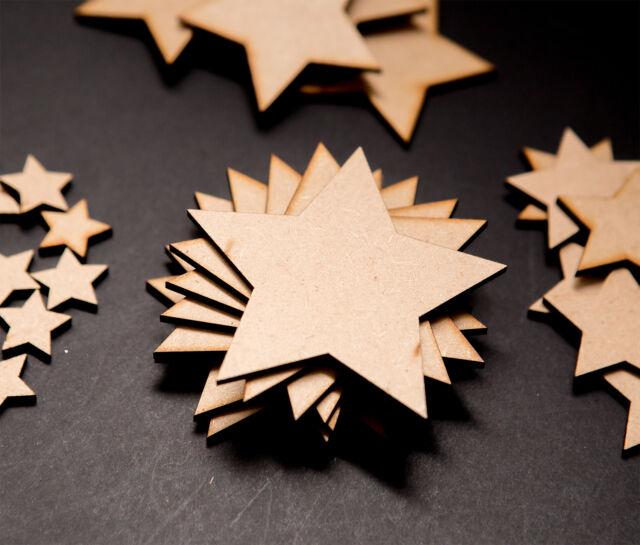 Pack Of 50 X 20mm Mdf Wooden Stars Laser Cut Art Craft Decor Blank Embellishment