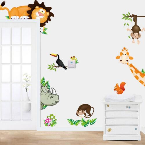 Jungle Wild Animal Mural Vinyl Wall Decals Sticker Kids Baby Nursery RoomDe X1