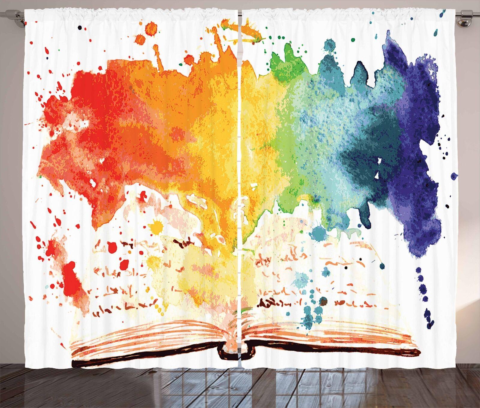 Cortinas De Acuarela Libro Abierto Colors ventana Cortinas 2 pulgadas Panel Set 108x84