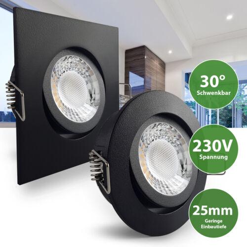 LED Einbaustrahler Einbauleuchte Schwarz geringe Einbautiefe 25mm COB 230V