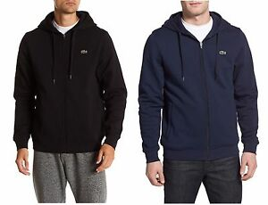 Lacoste-Men-Fashion-Sport-Tennis-Fleece-Hooded-Hoodie-Sweatshirt-Black-Blue