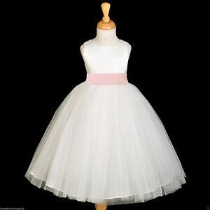 f29f314b6d7 IVORY TULLE GOWN SATIN SASH BRIDESMAID FLOWER GIRL DRESS 12-18M 2 4 ...