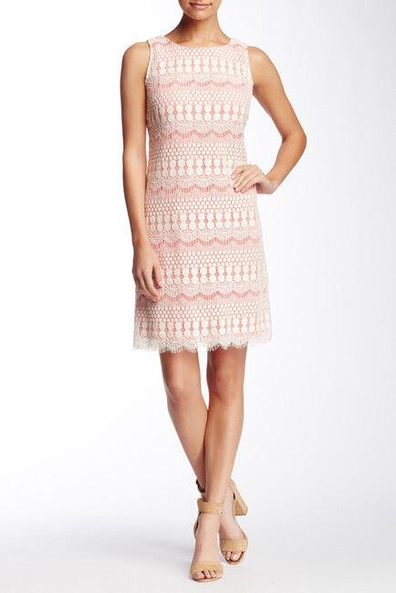 NEW Eliza J White & Pink Sleeveless Lace Sheath Dress.SZ 14