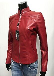 Italian Handmade Women Lambskin Leather Jacket Slim Fit Color Red