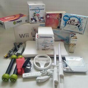 Nintendo Wii Bundle w/ Accessories; Fitness, Fit, Balance Board, 10/Games, Wheel