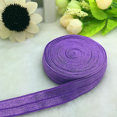 NEW 5 10 20 50 Yads 15MM DIY Multirole Fold Over Elastic Spandex Satin Band Ties