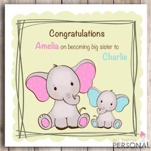Personalised   Handmade Baby Boy or Girl Card Congratulations New Big Sister