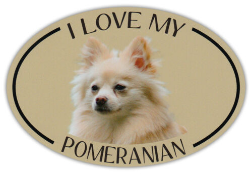 Bumper Sticker Decal Oval Dog Breed Picture Car Magnet I Love My Pomeranian