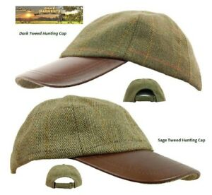 c7649bdffc6 Image is loading Tweed-amp-Leather-Baseball-Skip-Cap-Hat-Dark-