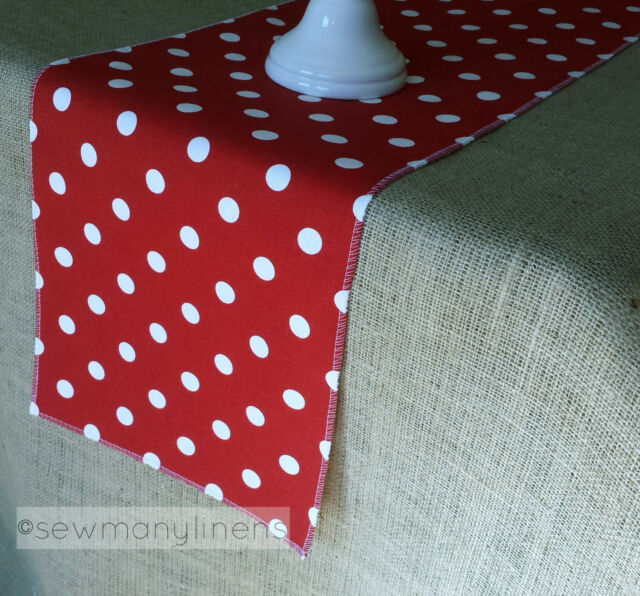 Red Polka Dot Table Runner And White Linens Centerpiece Dining Decor