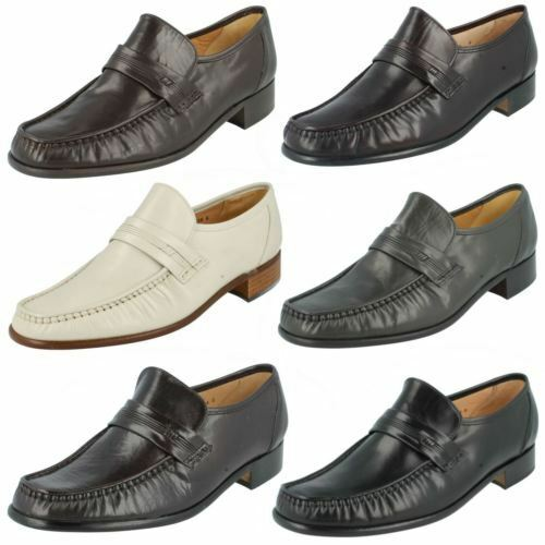 MENS GRENSON SLIP ON LEATHER MOCCASIN FORMAL OCCASION SHOES CLAPHAM 31928 FIT G