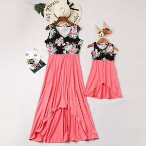 Irregular-mere-fille-robes-col-V-imprime-floral-maman-et-moi-Vetements
