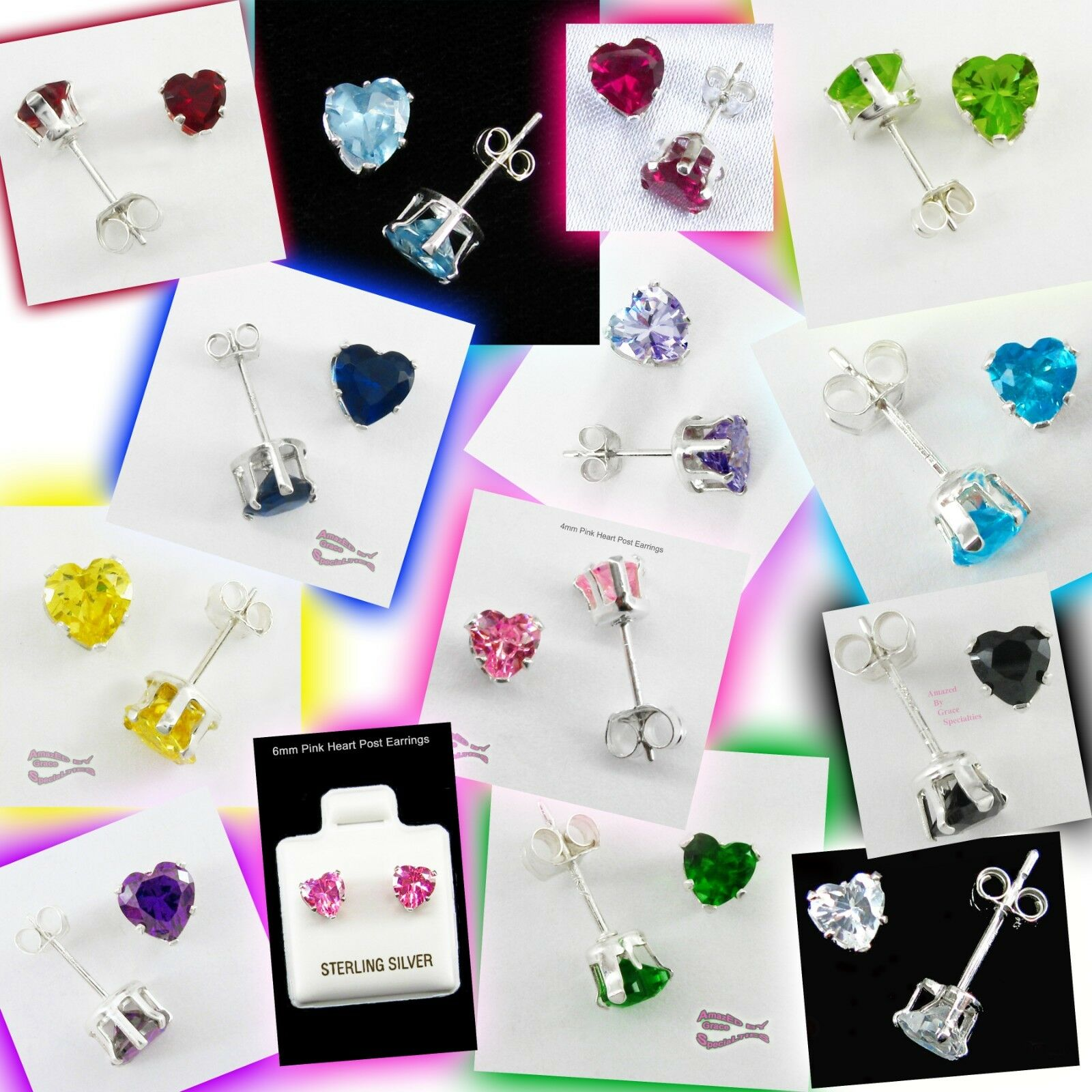 Heart Post Earring Set, 26 pairs in all