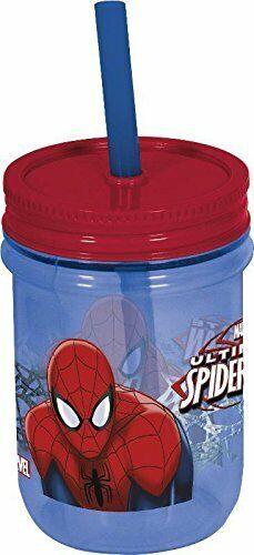 Spiderman Mason Drink Jar with Permanent Straw