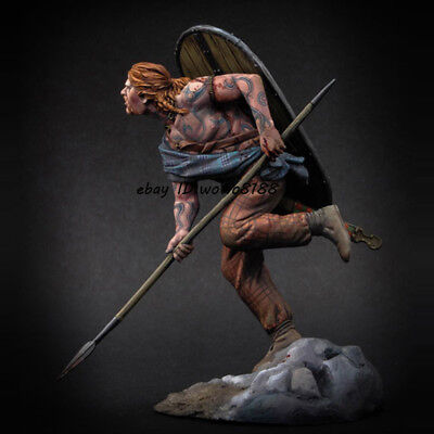 Character Figures Unpainted 1/24 Celtic Warrior Garage Kit 75mm Figure Model With Spear Shield New Toys & Hobbies