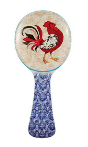 26098 Damask Rooster Spoonrest Kitchen Decor Cooking Baking Farm Country Barn