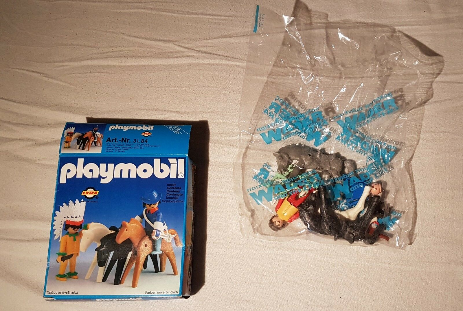 Playmobil-Set 3l84-lyr - with indian and US Officer with - horses, 1976, si, RARE 80a794