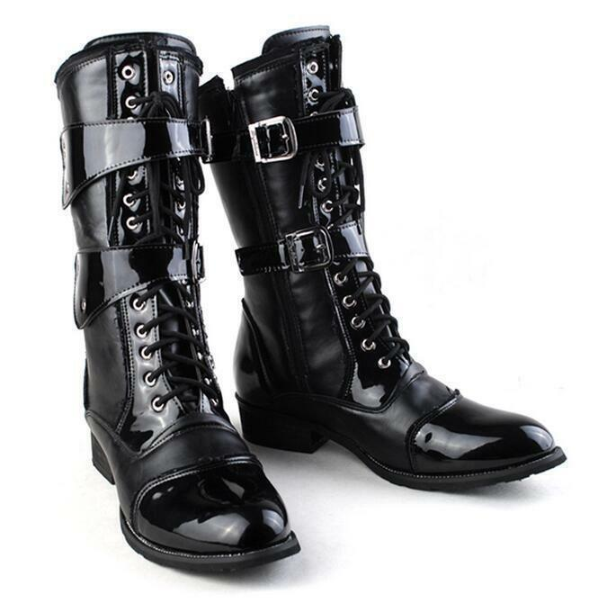 Uomo Synthetic Pelle Buckle Strap High Stivali Western Lace Up Cowboy Stivali R171